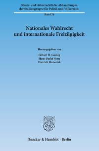 Cover Nationales Wahlrecht und internationale Freizügigkeit