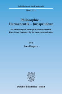 Cover Philosophie – Hermeneutik – Jurisprudenz