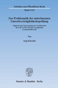 Cover Zur Problematik der unterlassenen Umweltverträglichkeitsprüfung