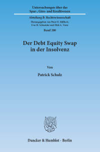 Cover Der Debt Equity Swap in der Insolvenz
