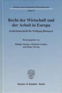Cover Recht der Wirtschaft und der Arbeit in Europa