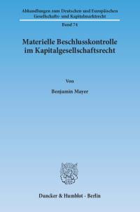 Cover Materielle Beschlusskontrolle im Kapitalgesellschaftsrecht