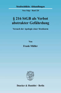Cover § 216 StGB als Verbot abstrakter Gefährdung