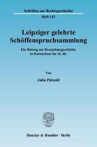 Cover Leipziger gelehrte Schöffenspruchsammlung