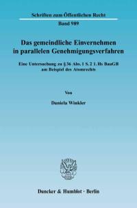 Cover Das gemeindliche Einvernehmen in parallelen Genehmigungsverfahren