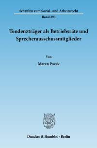 Cover Tendenzträger als Betriebsräte und Sprecherausschussmitglieder