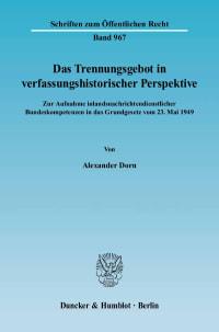 Cover Das Trennungsgebot in verfassungshistorischer Perspektive