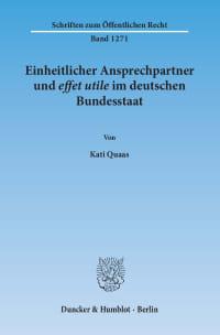 Cover Einheitlicher Ansprechpartner und effet utile im deutschen Bundesstaat