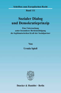 Cover Sozialer Dialog und Demokratieprinzip