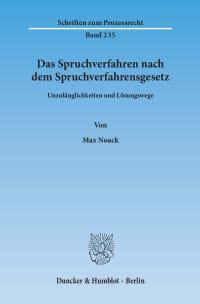Cover Das Spruchverfahren nach dem Spruchverfahrensgesetz