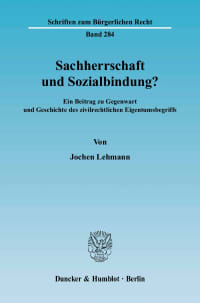 Cover Sachherrschaft und Sozialbindung?
