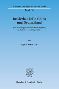 Cover Insiderhandel in China und Deutschland