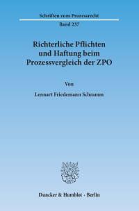 Cover Richterliche Pflichten und Haftung beim Prozessvergleich der ZPO