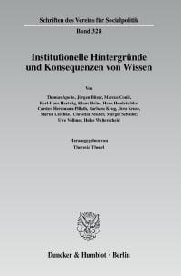Cover Institutionelle Hintergründe und Konsequenzen von Wissen