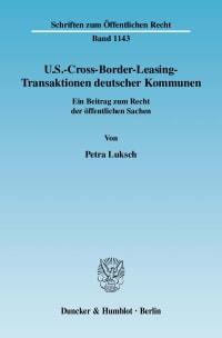 Cover U.S.-Cross-Border-Leasing-Transaktionen deutscher Kommunen