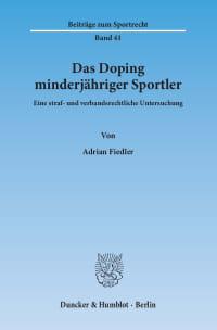 Cover Das Doping minderjähriger Sportler