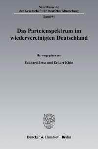 Cover Das Parteienspektrum im wiedervereinigten Deutschland