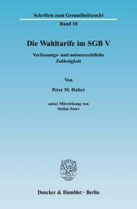 Cover Die Wahltarife im SGB V