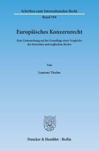 Cover Europäisches Konzernrecht