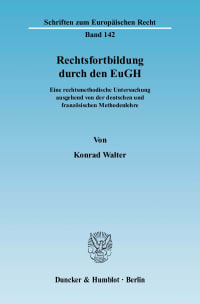 Cover Rechtsfortbildung durch den EuGH