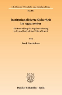 Cover Institutionalisierte Sicherheit im Agrarsektor