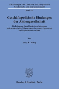 Cover Geschäftspolitische Bindungen der Aktiengesellschaft