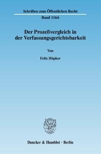Cover Der Prozeßvergleich in der Verfassungsgerichtsbarkeit