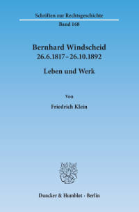 Cover Bernhard Windscheid 26.6.1817–26.10.1892