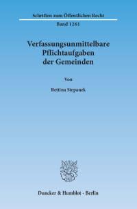 Cover Verfassungsunmittelbare Pflichtaufgaben der Gemeinden