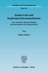Cover Insiderrecht und Kapitalmarktkommunikation