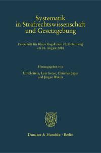 Cover Systematik in Strafrechtswissenschaft und Gesetzgebung