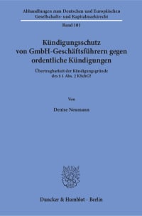 Cover Kündigungsschutz von GmbH-Geschäftsführern gegen ordentliche Kündigungen