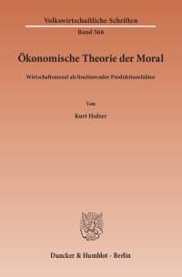 Cover Ökonomische Theorie der Moral