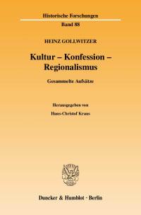 Cover Kultur - Konfession - Regionalismus