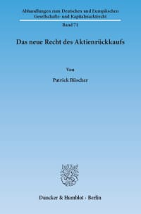 Cover Das neue Recht des Aktienrückkaufs