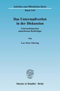 Cover Das Untermaßverbot in der Diskussion