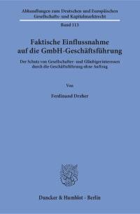Cover Faktische Einflussnahme auf die GmbH-Geschäftsführung