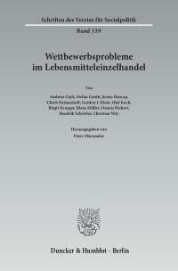 Cover Wettbewerbsprobleme im Lebensmitteleinzelhandel