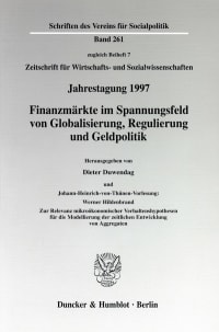 Cover Finanzmärkte im Spannungsfeld von Globalisierung, Regulierung und Geldpolitik. Johann-Heinrich-von-Thünen-Vorlesung: