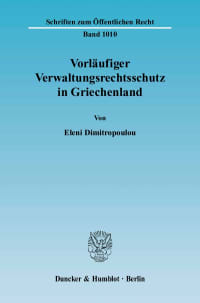 Cover Vorläufiger Verwaltungsrechtsschutz in Griechenland