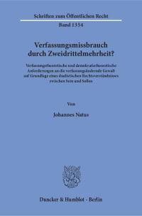 Cover Verfassungsmissbrauch durch Zweidrittelmehrheit?