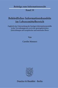 Cover Behördliches Informationshandeln im Lebensmittelbereich