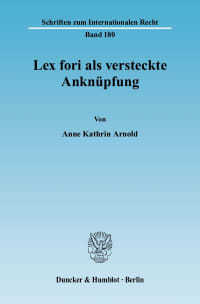 Cover Lex fori als versteckte Anknüpfung