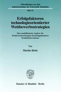 Cover Erfolgsfaktoren technologieorientierter Wettbewerbsstrategien