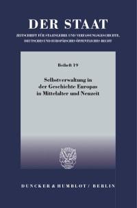 Cover Selbstverwaltung in der Geschichte Europas in Mittelalter und Neuzeit