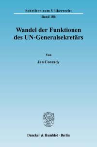 Cover Wandel der Funktionen des UN-Generalsekretärs