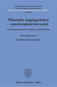 Cover Öffentliche Angelegenheiten – interdisziplinär betrachtet