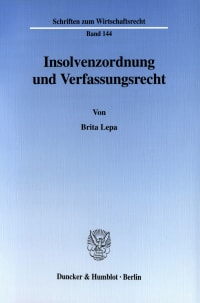 Cover Insolvenzordnung und Verfassungsrecht