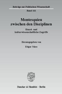 Cover Montesquieu zwischen den Disziplinen