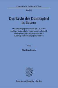 Cover Das Recht der Domkapitel in Bayern